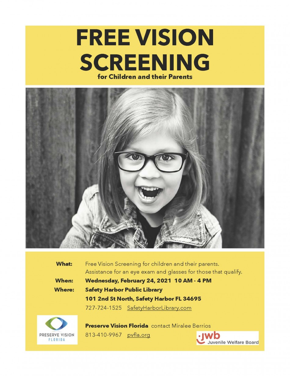 Free Vision Screenings for Youth and Parents at Safety Harbor Library