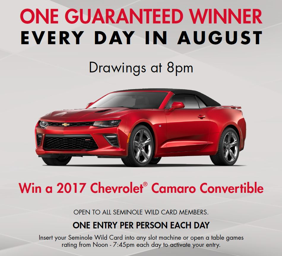 Seminole Hard Rock Hotel & Casino August Car-A-Day Giveaway