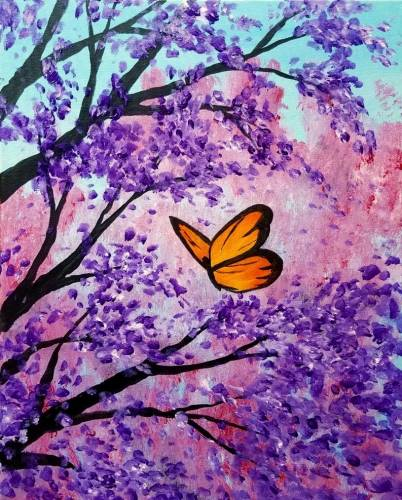Wine & Canvas: Butterfly Flowers