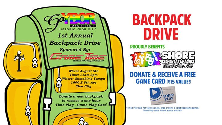 Backpack Drive on Tax Free Weekend – Donate & Play!