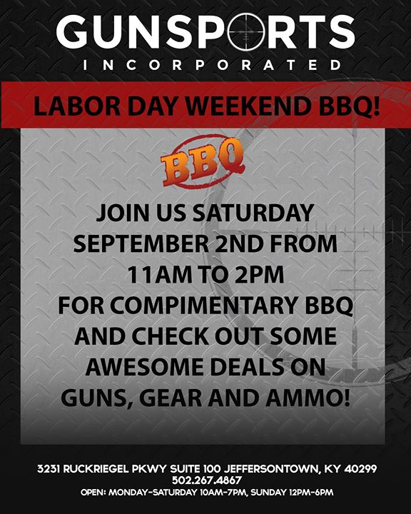 Labor Day Weekend BBQ at Gunsports Inc!