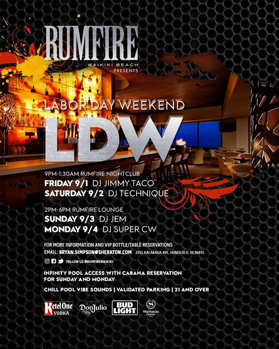 Labor Day Weekend at RumFire, Honolulu HI - Sep 1, 2017 - 9