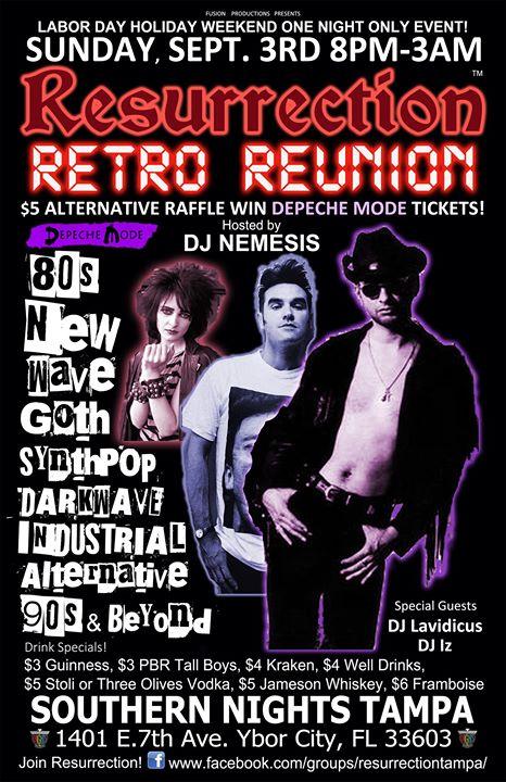 Labor Day Sunday Sept. 3rd Resurrection Retro Reunion