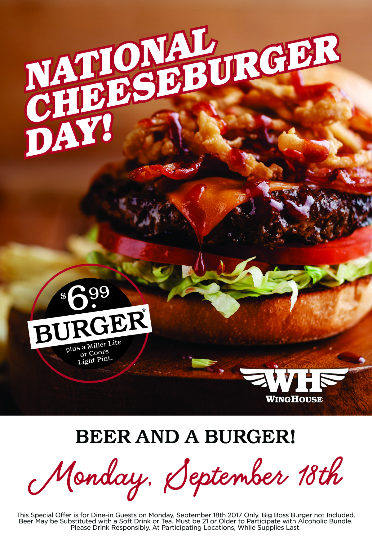 Celebrate National Cheeseburger Day Monday, September 18th at The WingHouse Bar + Grill