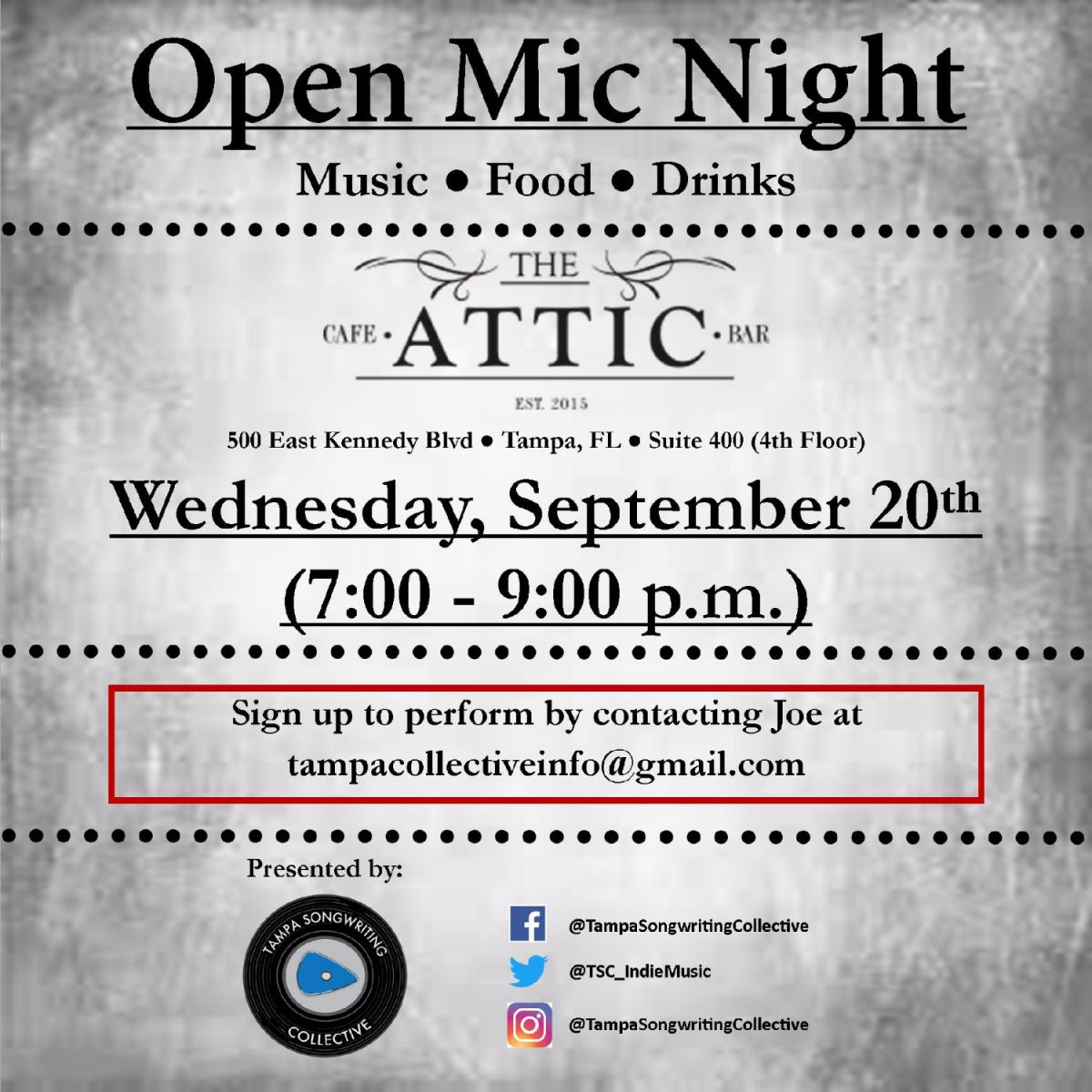 Open Mic Night at The Attic Cafe