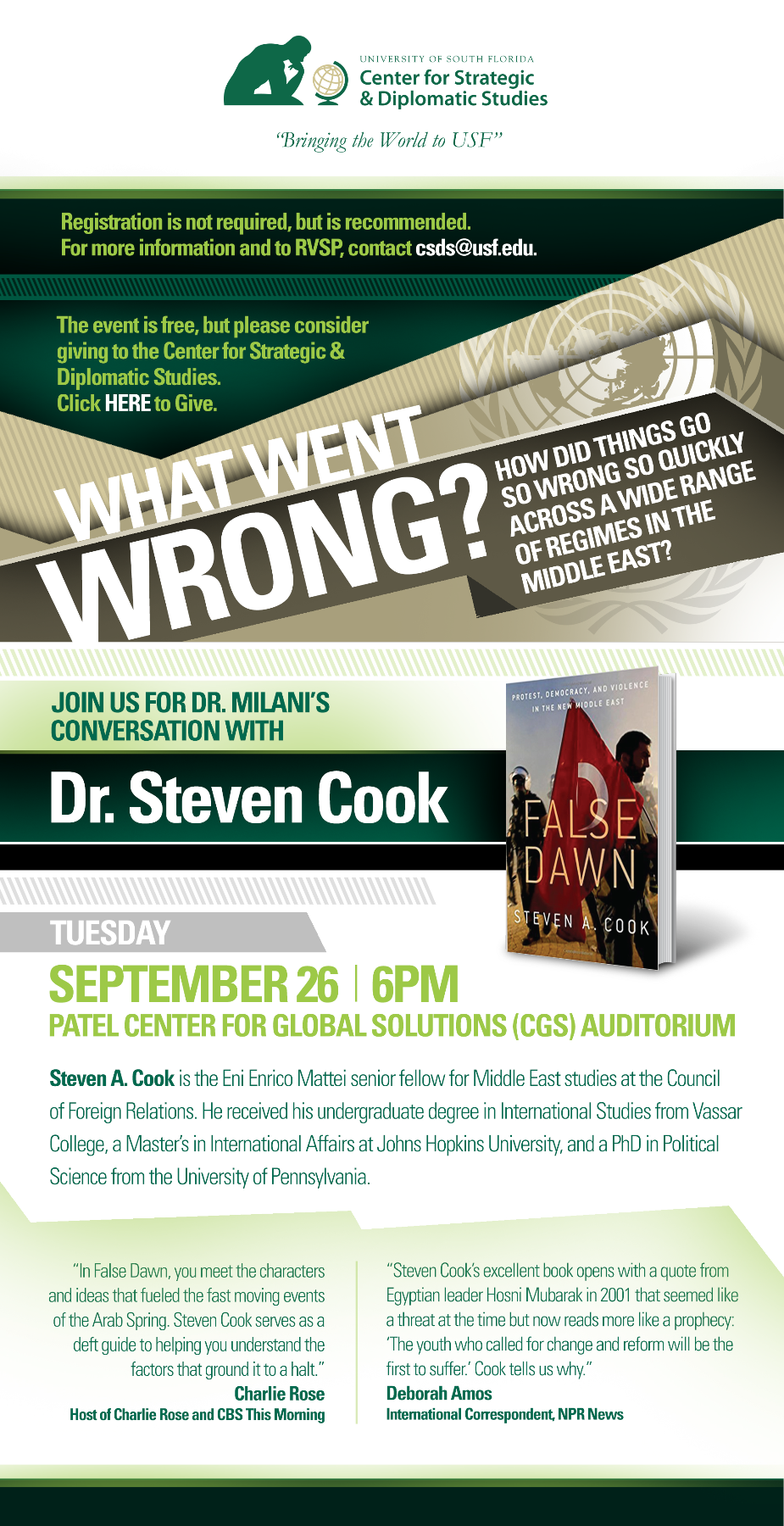What Went Wrong? Join the USF Center for Strategic & Diplomatic Studies for a Conversation with Dr. Steven Cook