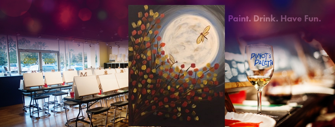 Fall Moon Dragonflies Paint Night - Pinot's Palette
