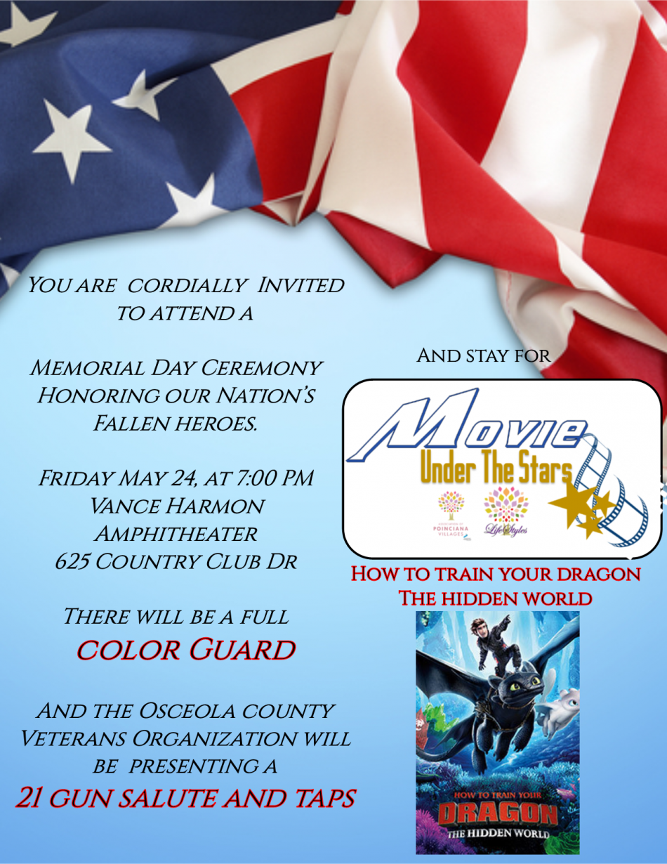 Memorial Day Ceremony And Movie Under The Stars Orlando Fl May 24