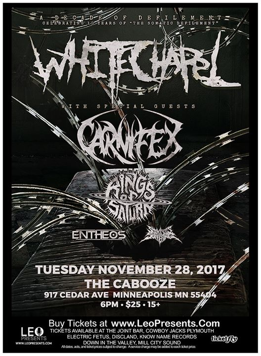 WHITECHAPEL Decade of Defilement Tour at The Cabooze