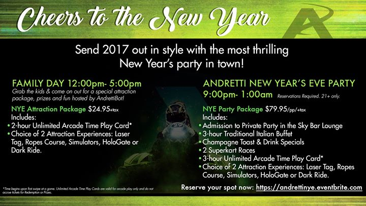 NYE Party at Andretti Indoor Karting & Games