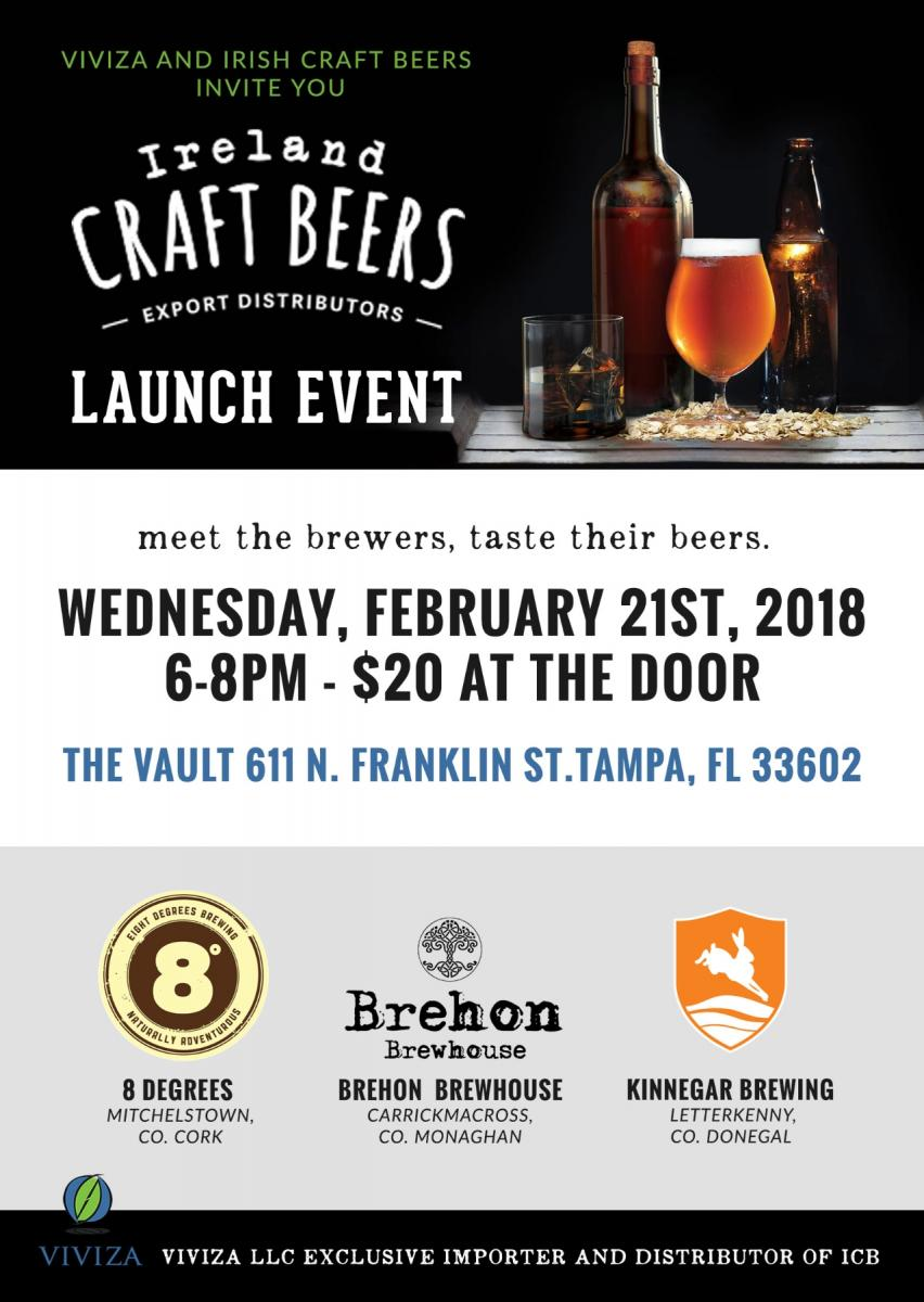 Ireland Craft Beers - LAUNCH EVENT at THE VAULT: 8 Degrees, Brehon Brewhouse & Kinnegar Brewing