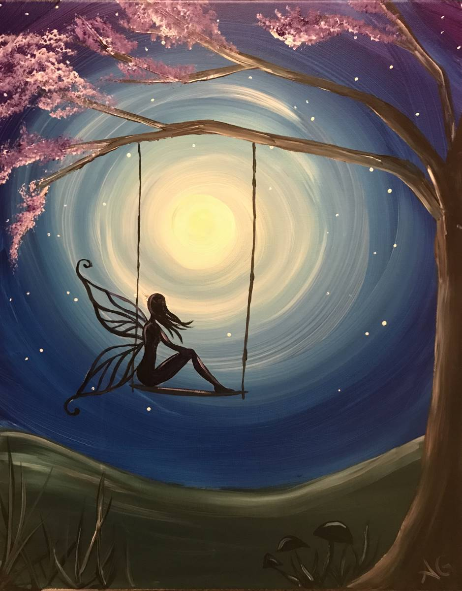 Wine & Canvas Painting Class: Moon Fairy