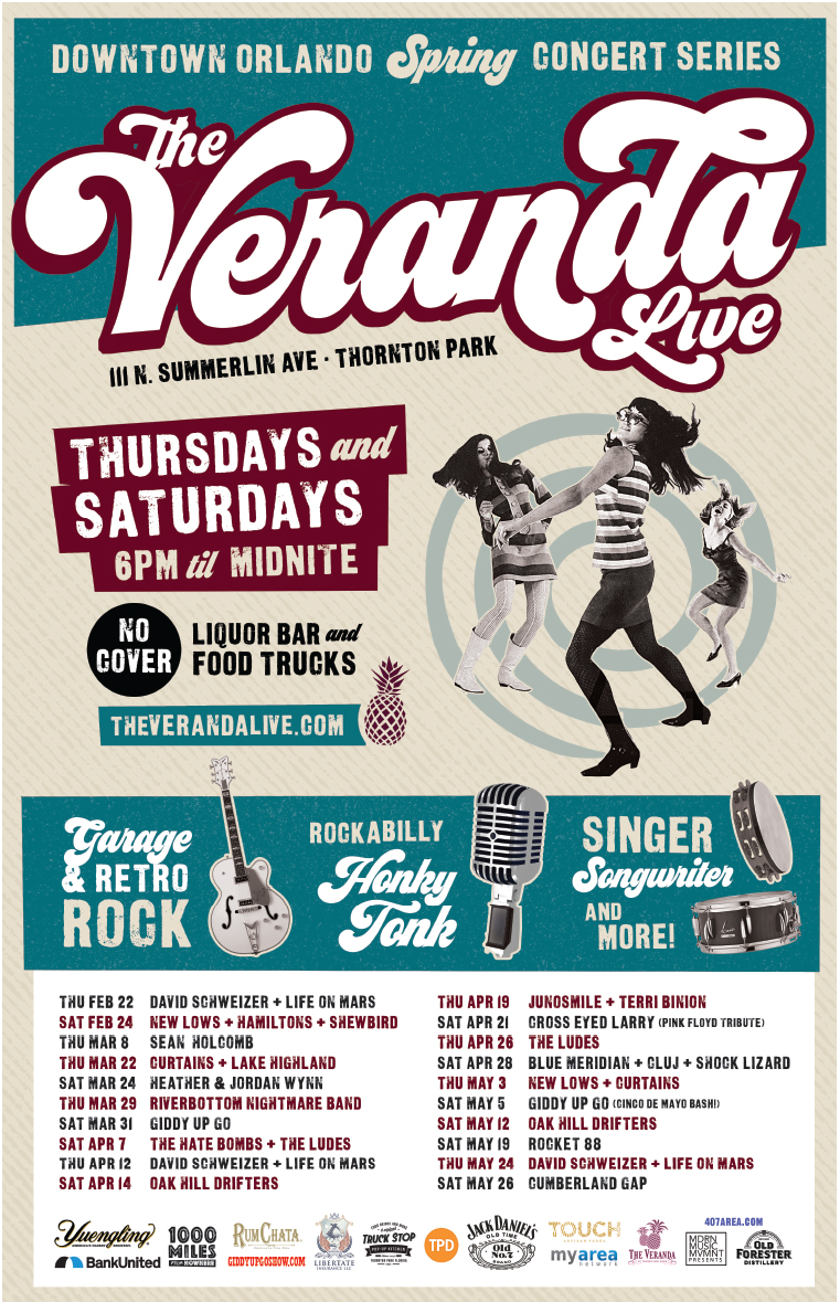 Veranda Live Spring Concert Series Featuring Blue Meridian, Cluj, and Shock Lizard