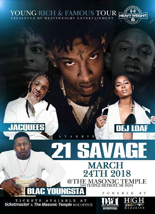 Dej Loaf, Blac Youngsta, 21 Savage, and Jacquees at Masonic