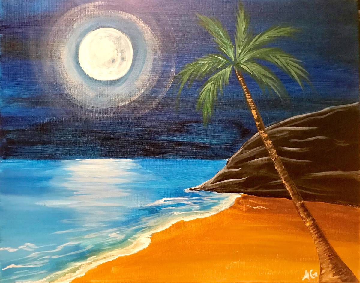 Wine & Canvas Painting Class: Midnight Moon