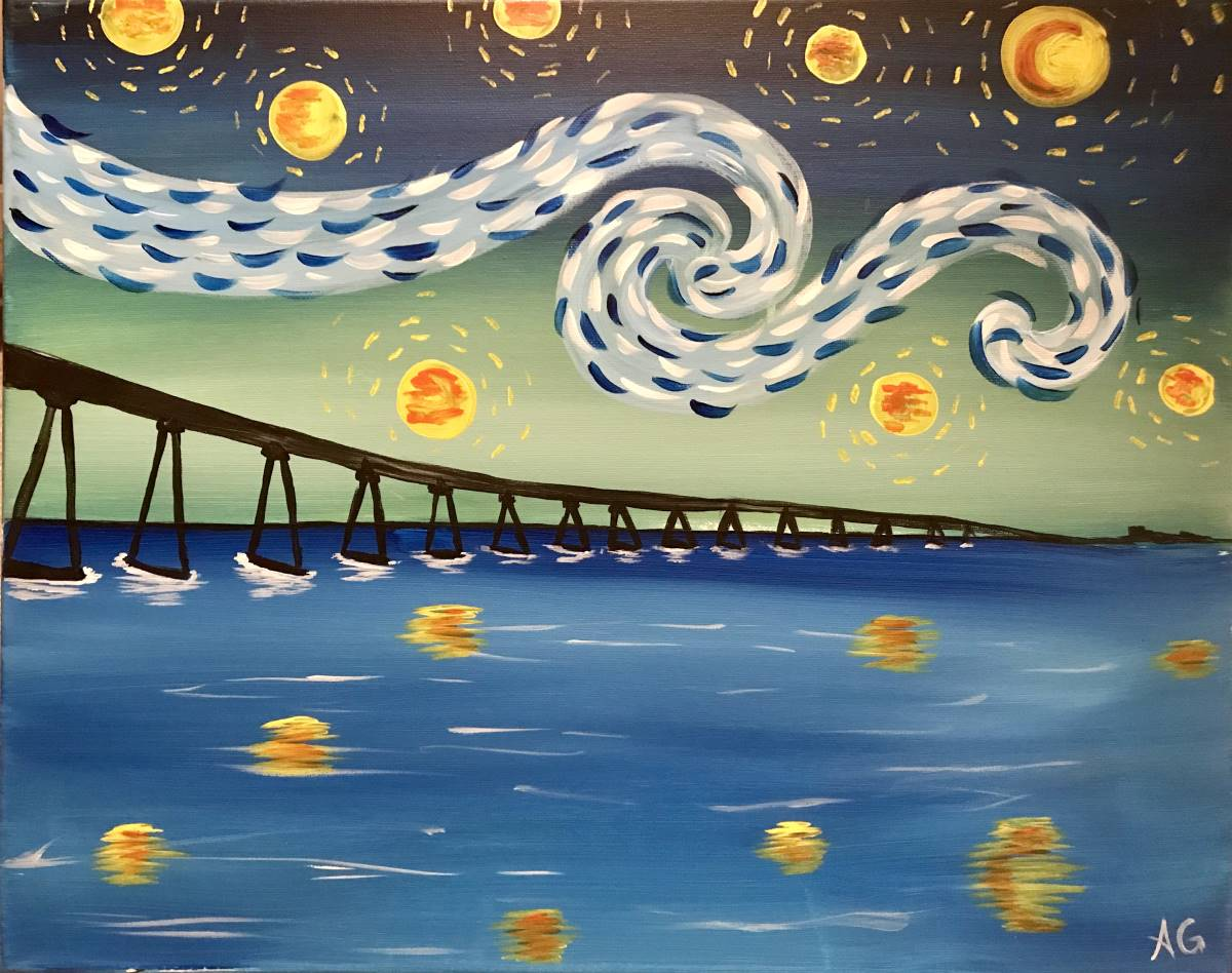 Wine & Canvas Painting Class: Starry Coronado