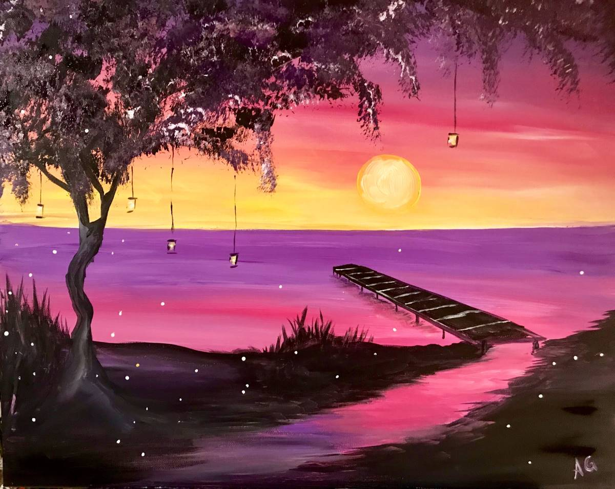 Wine & Canvas Painting Class: Firefly Sunset
