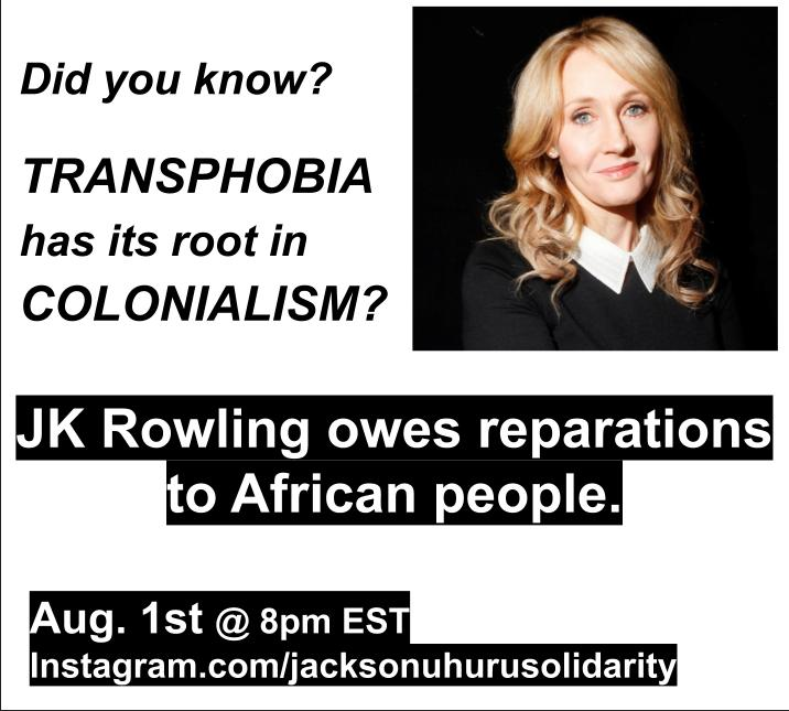 JK Rowling Owes Reparations To African People: Online event