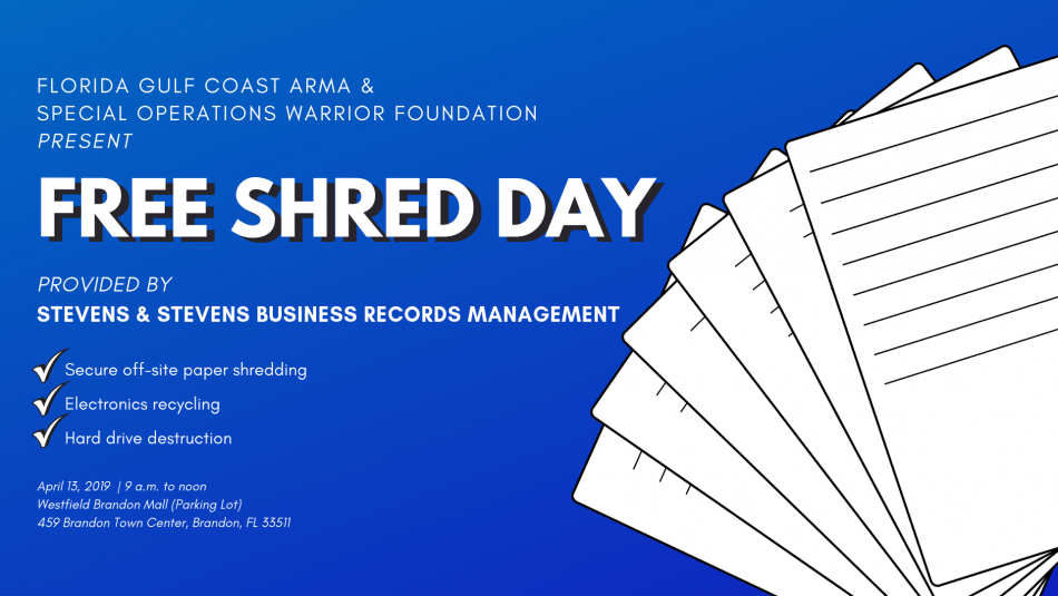 Free Shredding Event: Brandon, Florida, Tampa FL - Apr 13, 2019 - 9