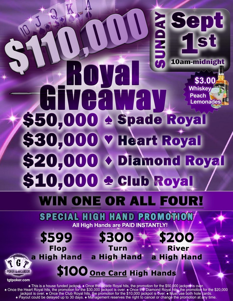 $110,000 Royal Flush Giveaway, Tampa FL - Sep 1, 2019 - 10:00 AM