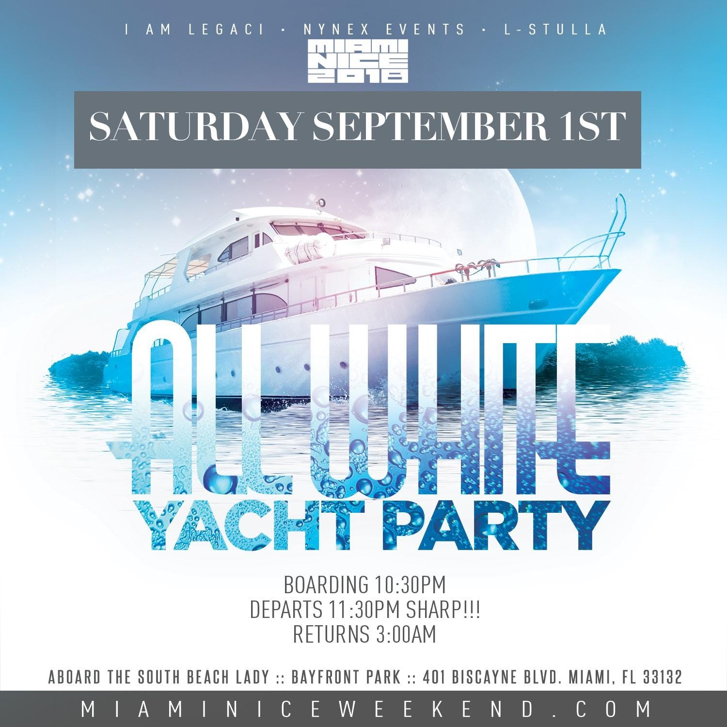 Miami Nice 2018 Annual Labor Day Weekend All White Yacht Party