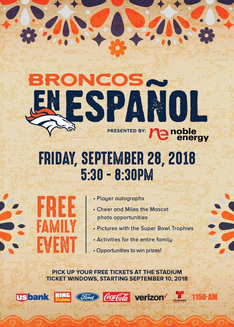 b23459d5 Broncos en Español Tailgate, Denver CO - Sep 28, 2018 - 6:30 PM