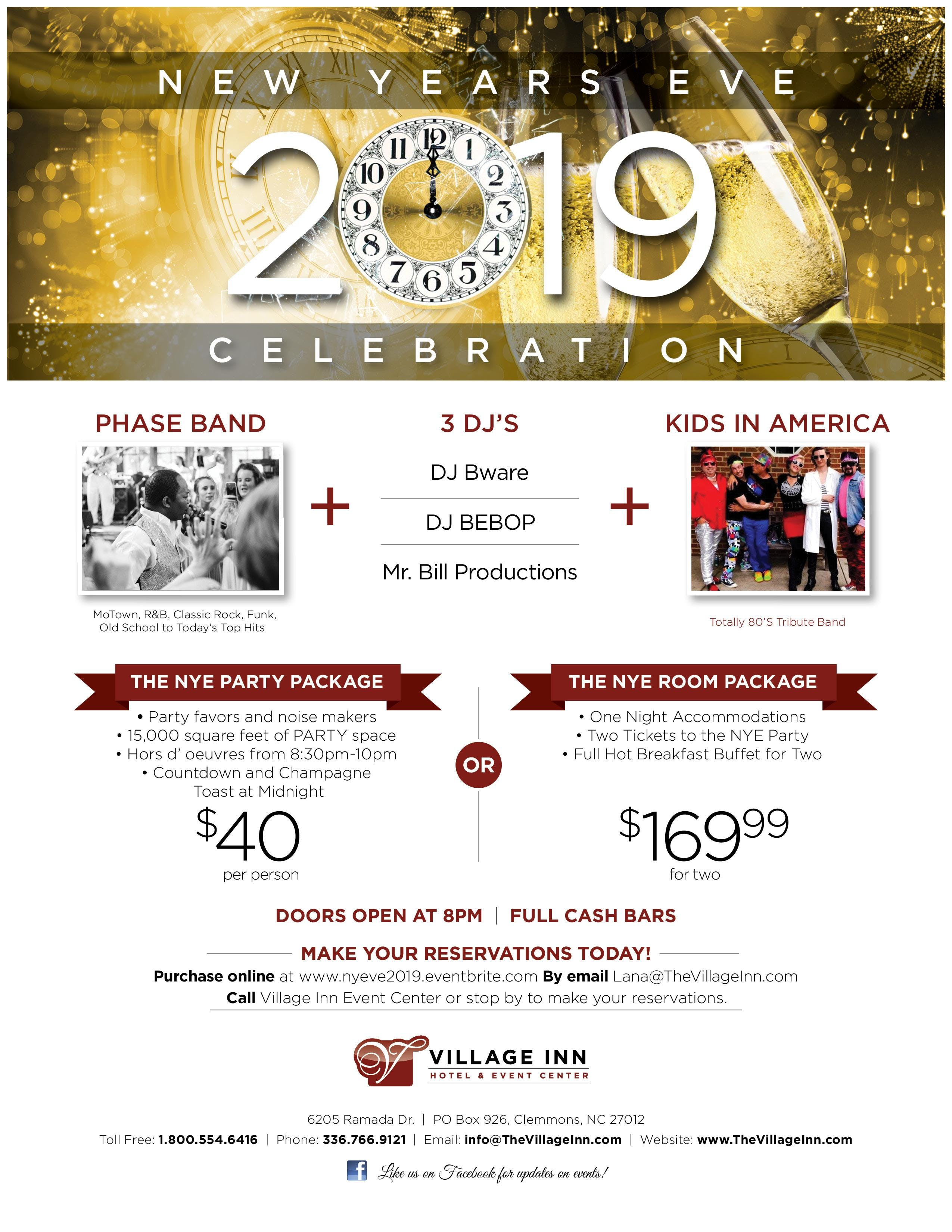 New Year's Eve 2019 Celebration!, Greensboro NC - Dec 31, 2018 - 8:00 PM