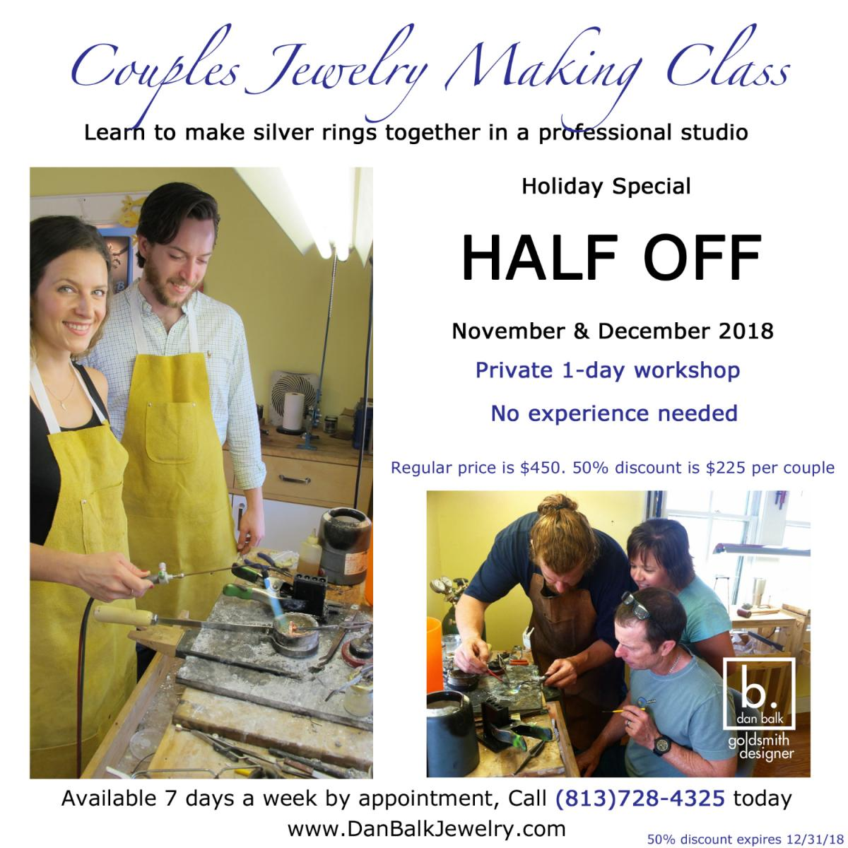 Couples Private Jewelry Class 50% Off Holiday Special, Hand make silver rings together in a professional studio