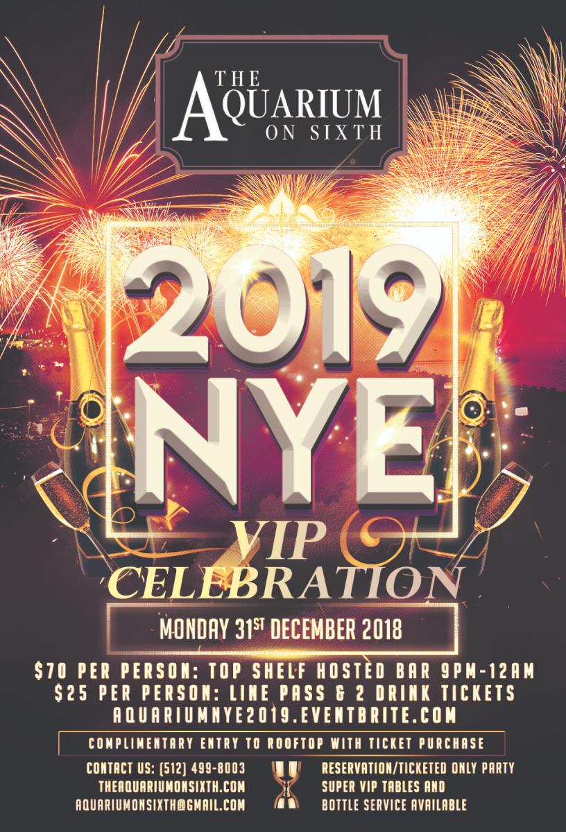 New Year's Eve 2019 VIP Celebration at The Aquarium on Sixth