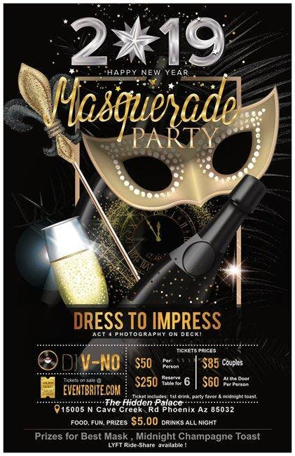 New Years Eve Masquerade Party 2019, Glendale AZ - Dec 31 ...