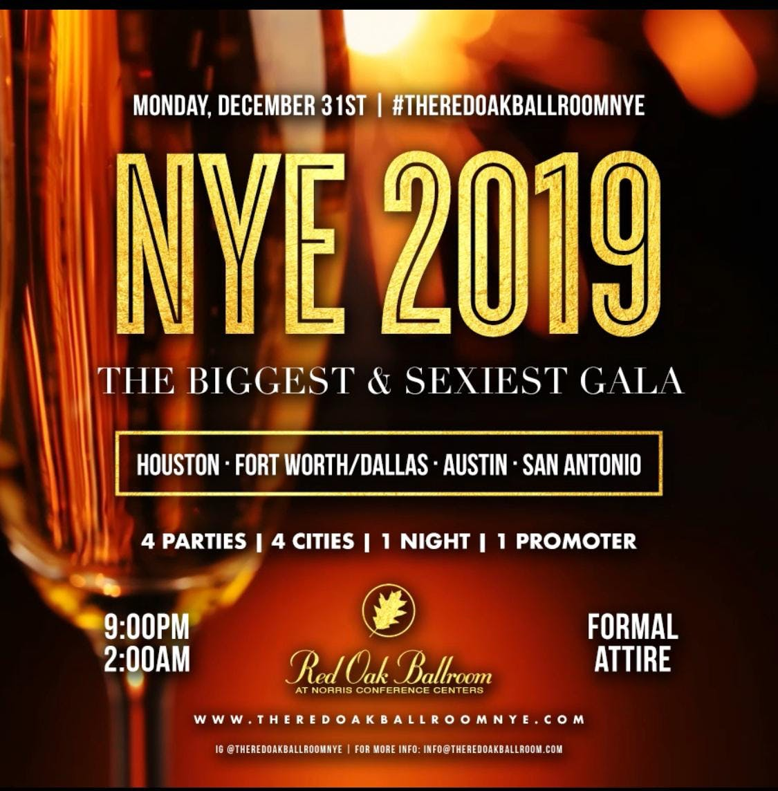 Red Oak Ballroom NYE 2019 New Year's Eve Celebration Fort Worth/Dallas, Fort Worth TX - Dec 31 ...