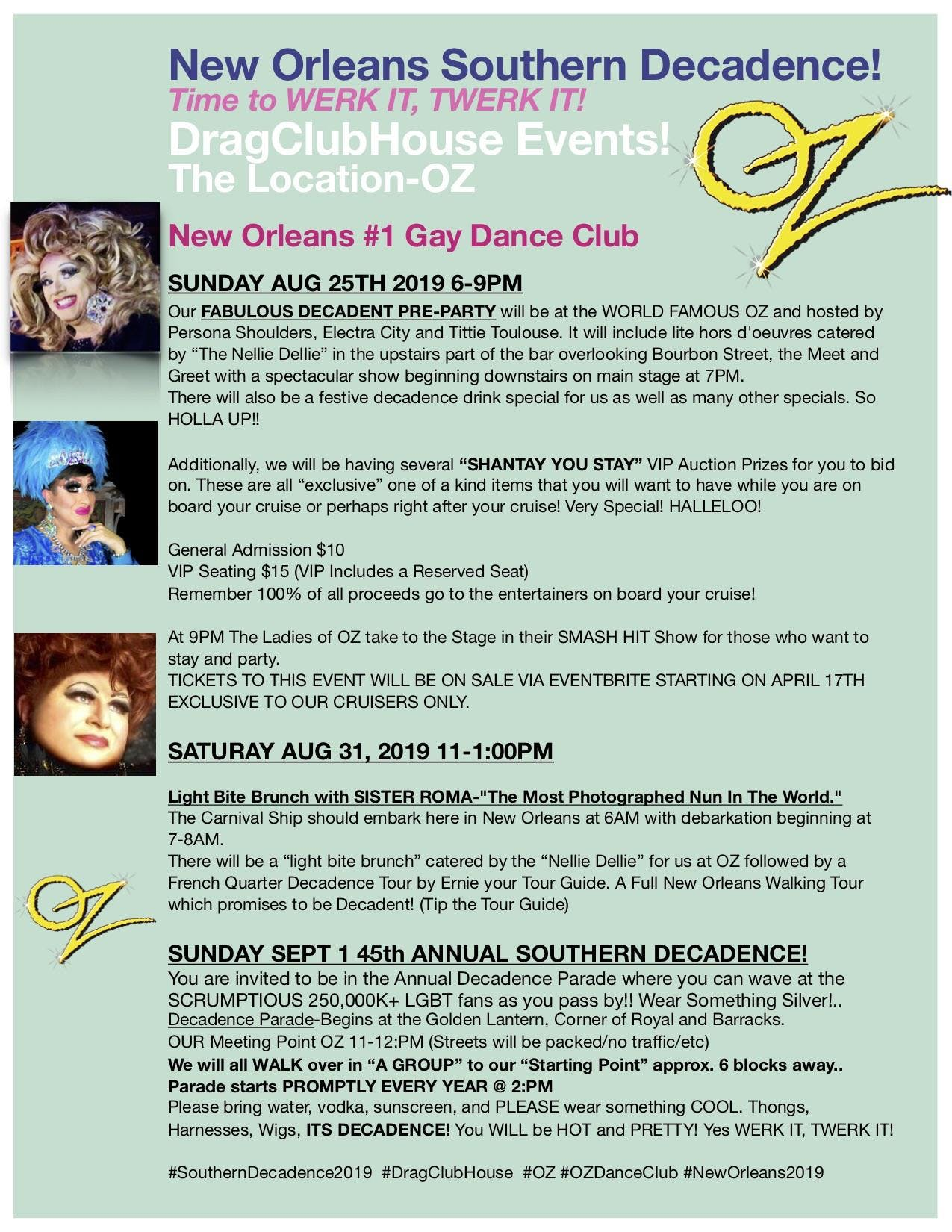 Drag Club House POST French Quarter Tour , New Orleans LA