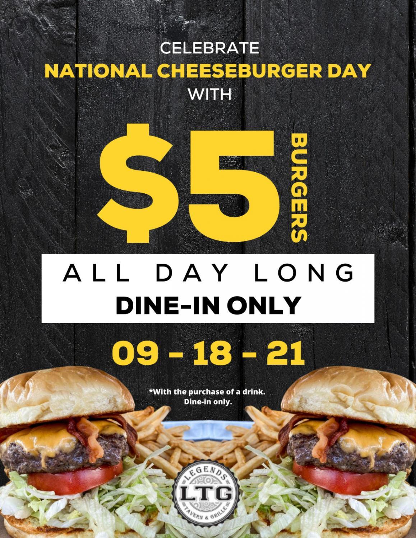 National Cheeseburger Day: $5 Burgers All Day Long