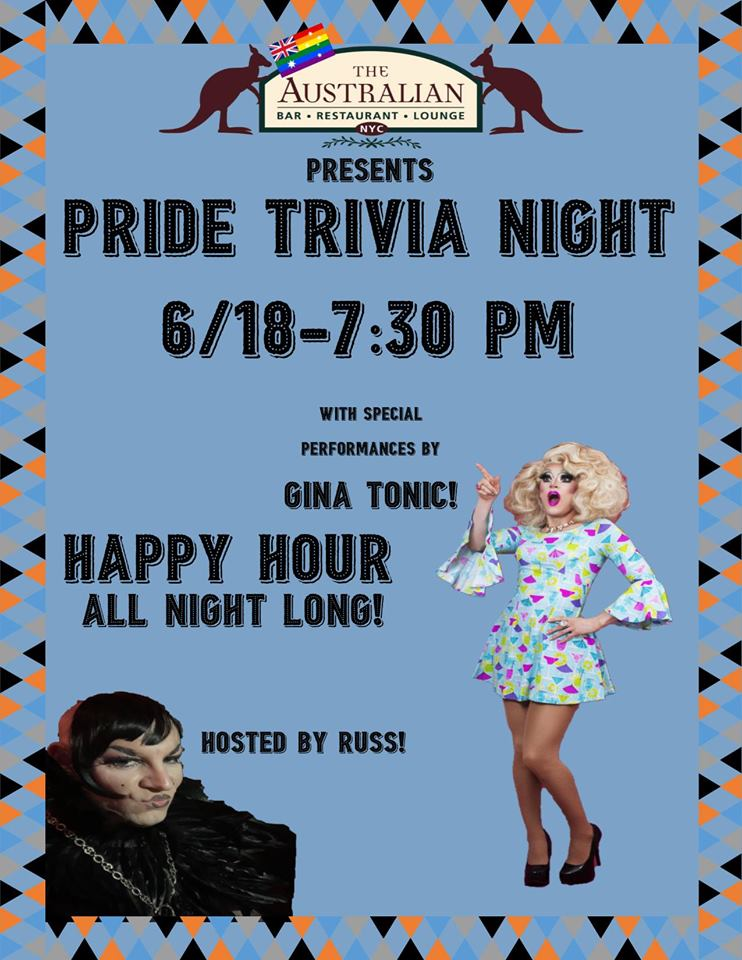 Pride Trivia Night!, New York City NY - Jun 18, 2019 - 7:30 PM