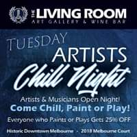 Artist Chill Night at The Living Room Paint or Play get 25% Off