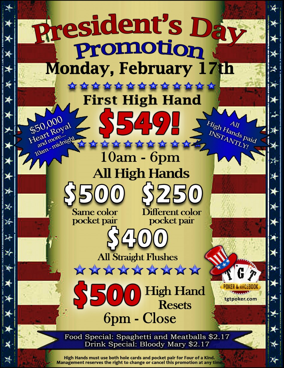 Presidents' Day $50,000 Heart Royal