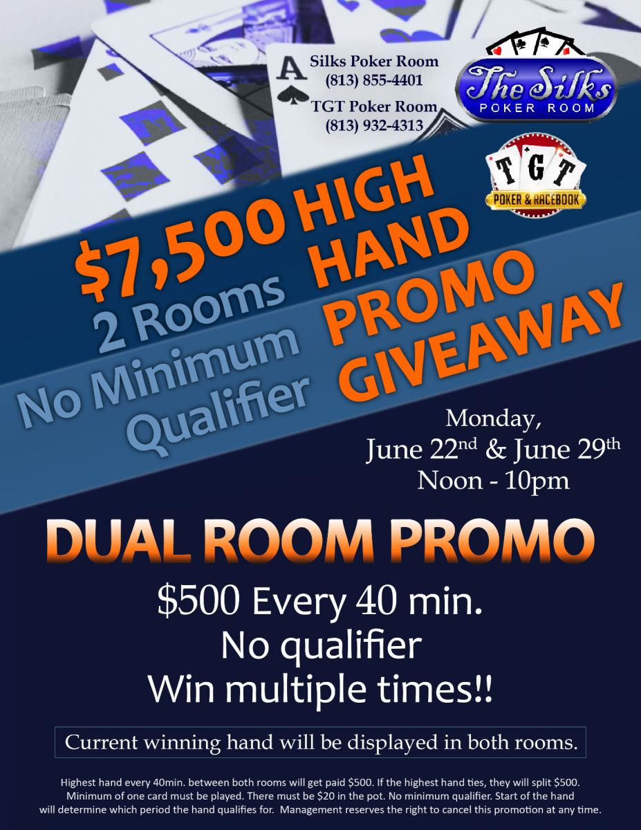 TGT and Silks Poker Dual Room Promo - June 29th