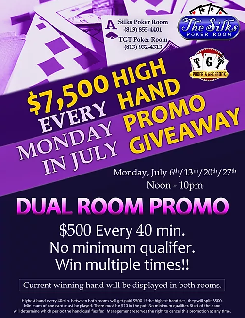 TGT & Silks Poker Poker Dual Room Promo - July 27th