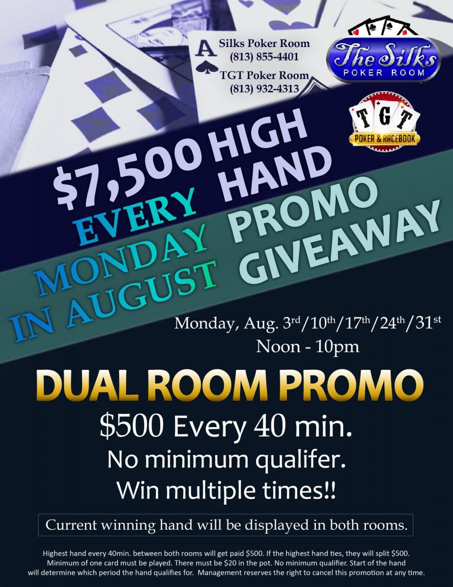 TGT & Silks Poker Dual Room Promo 8/17