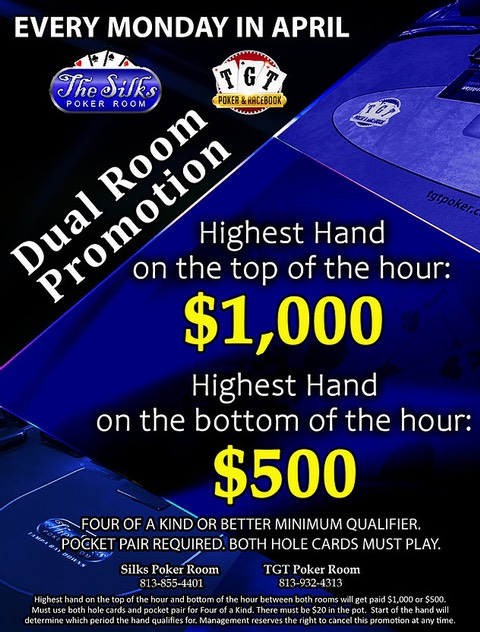 4/26 Dual Room Promotion | TGT Poker & Racebook & The Silks Poker Room