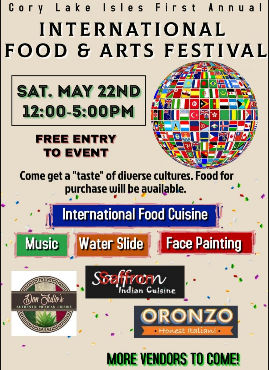 International Food and Arts Festival! FREE! In Cory Lake Isles!