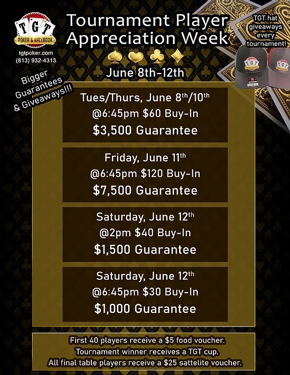 $3,500 Gaurantee Tournament at TGT Poker Room on 6/10