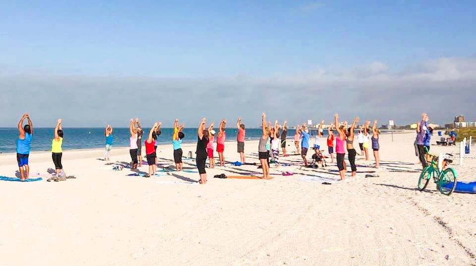 Thursday Yoga on the Beach at Caddy's Treasure Island 7/22