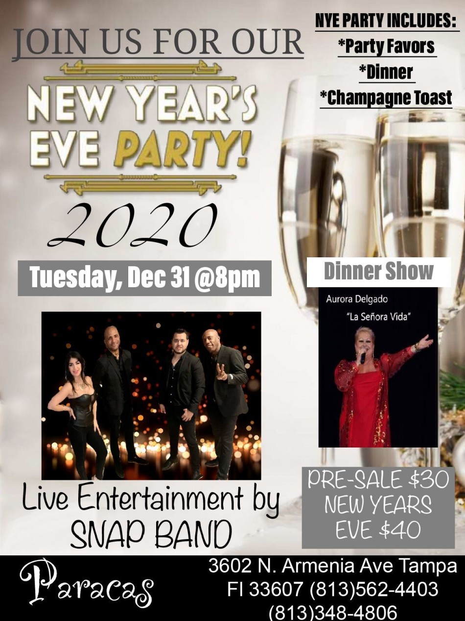 NEW YEAR'S EVE LATIN PARTY, Tampa FL - Dec 31, 2019 - 8:00 PM