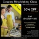 Couples Ring Making Jewelry Class, 50% Off Summer of Love Special, Hand make silver bands together in a professional studio