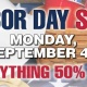 Labor Day Sale 50% OFF Everything