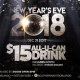 New Year's Eve $15 ALL You CAN DRINK