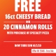 CICIS PIZZA FREE CINNAMON ROLLS OR CHEESY BREAD CARRY OUT DEAL