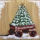 Red Wagon Christmas Tree Real Wood Board
