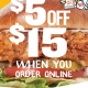 $5 off $15 on Online Orders at PDQ!